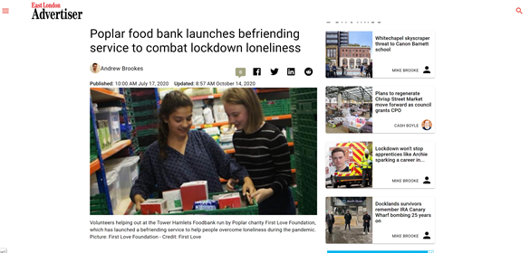 east london advertiser poplar food bank launches befriending service to combat lockdown lonliness