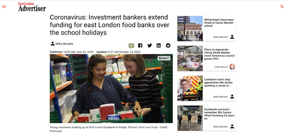 investment bankers extend funding for east london food banks over the school holidays