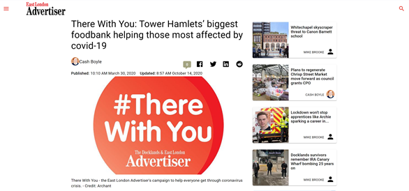 there with you tower hamlets biggest foodbank helping those most affected by covid19